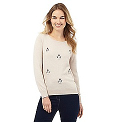 The Collection - Beige penguin embroidered jumper