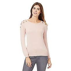 The Collection - Light pink bead embellished shoulder jumper