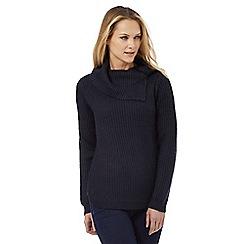 The Collection - Navy split neck jumper