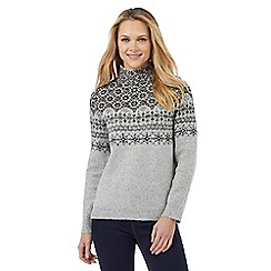 The Collection - Grey sparkle Fair Isle high neck jumper