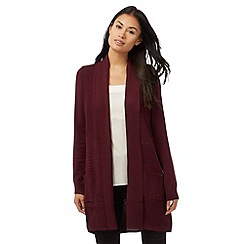 The Collection - Dark purple longline ribbed cardigan
