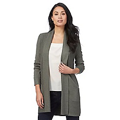 The Collection - Khaki ribbed longline cardigan