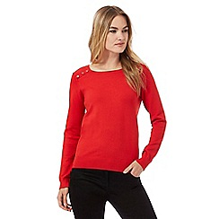 The Collection - Red button ribbed shoulder jumper