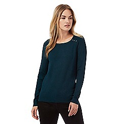 The Collection - Dark green button ribbed shoulder jumper