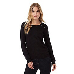 The Collection - Black button ribbed shoulder jumper