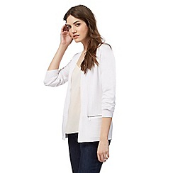 The Collection - White ribbed zip detail cardigan