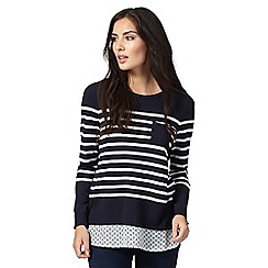 The Collection Petite - Navy 2-in-1 striped jumper