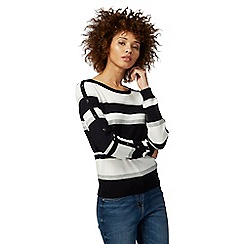The Collection - Black and white striped button detail jumper