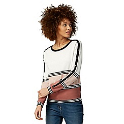 The Collection - Pink and white striped button detail jumper