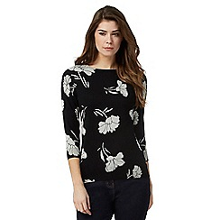 The Collection - Black floral print jumper