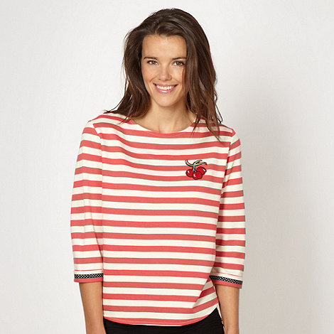 H! by Henry Holland - Designer red striped applique cherry sweat top