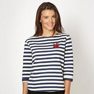 Designer blue striped applique cherry sweat top