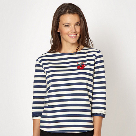 H! by Henry Holland - Designer blue striped applique cherry sweat top