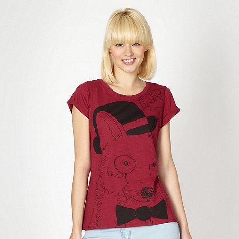 H! by Henry Holland - Designer maroon sketched fox t-shirt
