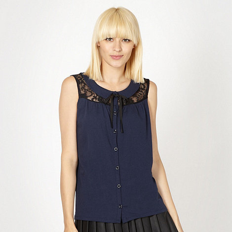 H! by Henry Holland - Designer blue lace trim top