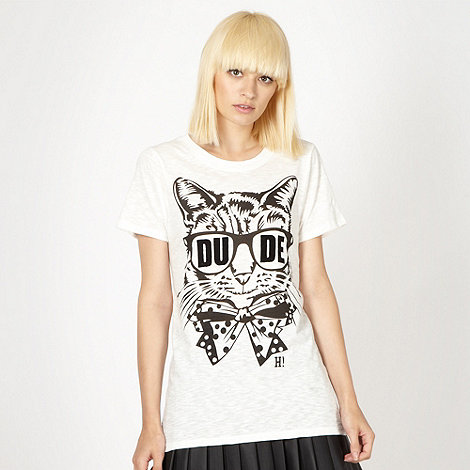 H! by Henry Holland - Designer white +Dude+ cat t-shirt