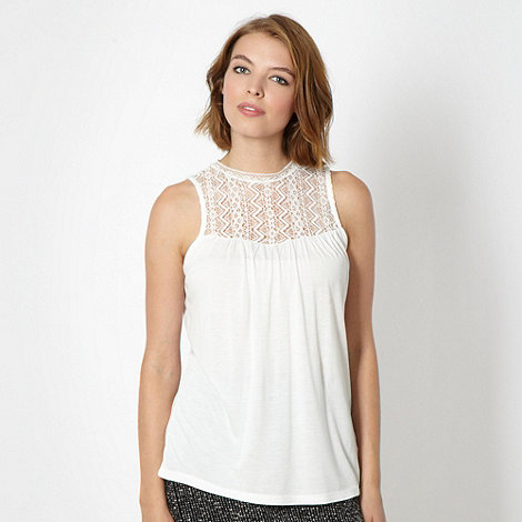 H! by Henry Holland - Designer cream high neck lace top