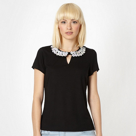 H! by Henry Holland - Designer black daisy collar top