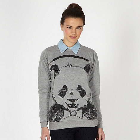 H! by Henry Holland - Designer grey sketchy panda sweater