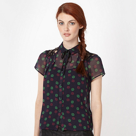 H! by Henry Holland - Designer navy spotted shirt
