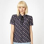 Designer navy car print blouse