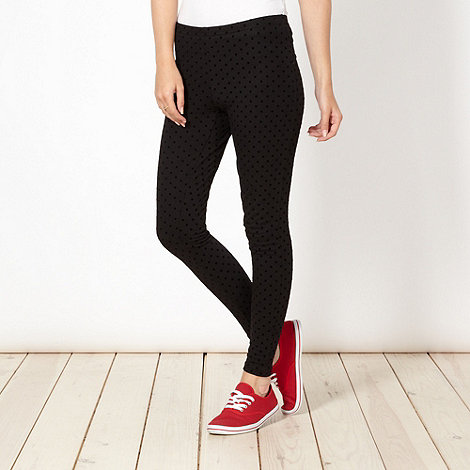 H! by Henry Holland - Designer black flocked polka dot leggings