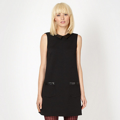 H! by Henry Holland - Designer black textured PU collar tunic