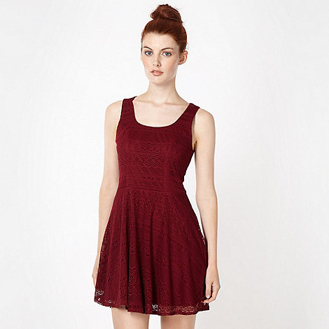 H! by Henry Holland - Designer winter berry lace skater dress