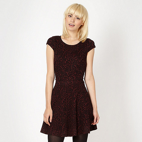 H! by Henry Holland - Designer maroon jacquard skater dress