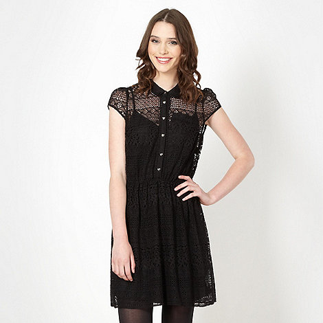 H! by Henry Holland - Designer black lace shirt dress