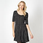 Designer black spotted heart and daisy print dress
