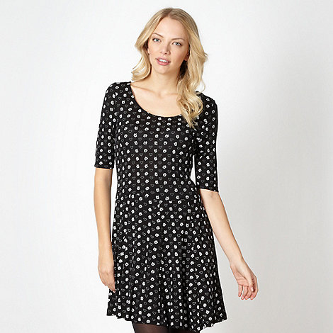 H! by Henry Holland - Designer black spotted heart and daisy print dress