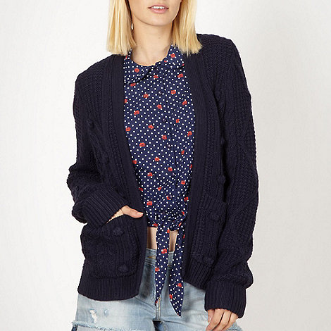 H! by Henry Holland - Designer blue bobble knitted cardigan