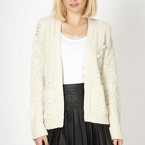 H! by Henry Holland - Designer natural bobble knit cardigan