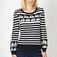 Designer navy geometric bunny knitted jumper