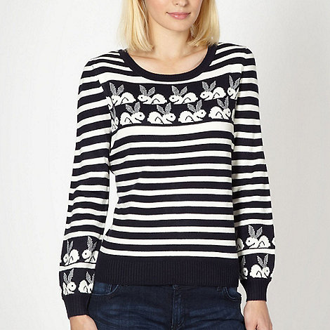 H! by Henry Holland - Designer navy geometric bunny knitted jumper