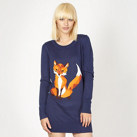 H! by Henry Holland - Designer navy fox knit tunic dress
