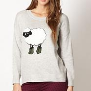 Designer grey festival sheep jumper
