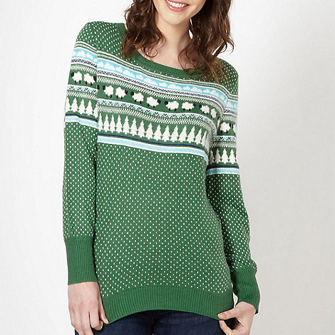 H! by Henry Holland - Designer green sheep farmyard fairisle jumper