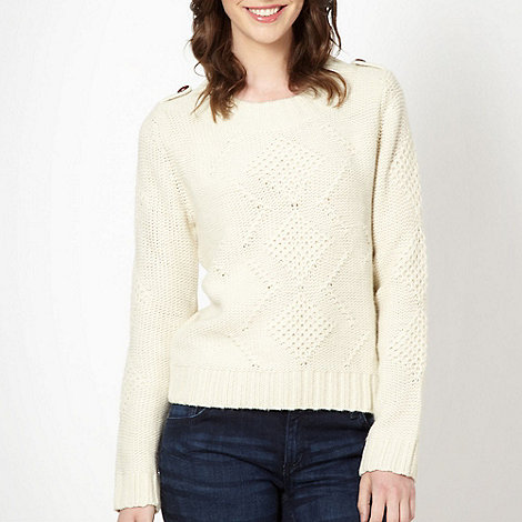 H! by Henry Holland - Designer cream arran stitch jumper