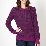 Designer purple 'Popcorn Stitch' jumper
