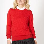 Designer red bobble knit jumper