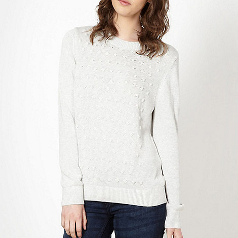 H! by Henry Holland - Designer pale grey bobble jumper