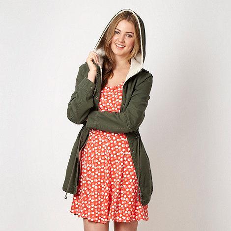 H! by Henry Holland - Designer khaki borg hood parka jacket