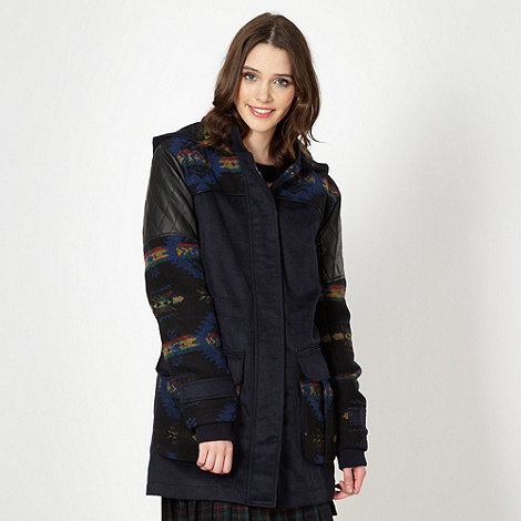 H! by Henry Holland - Designer navy aztec patterned parka jacket