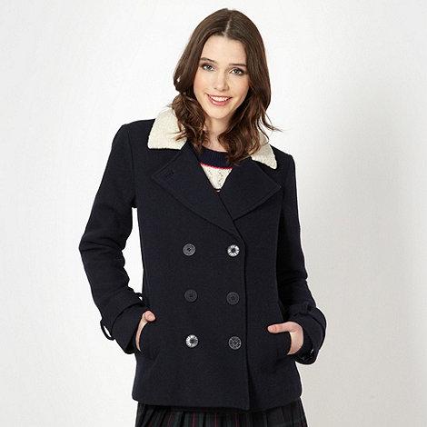 H! by Henry Holland - Designer navy ribbed fleece collar coat