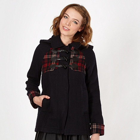 H! by Henry Holland - Designer black tartan duffle coat