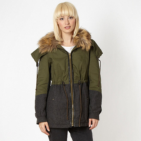 H! by Henry Holland - Designer khaki faux fur trim parka coat