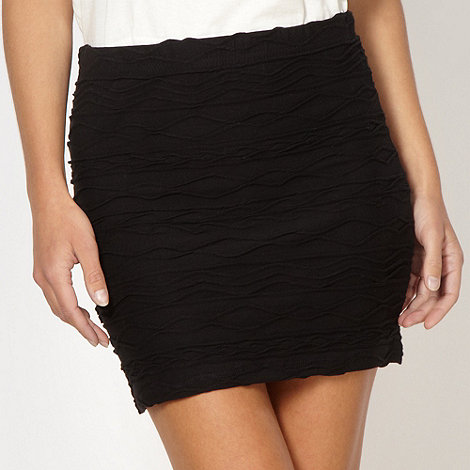 H! by Henry Holland - Designer black wavy textured tube skirt