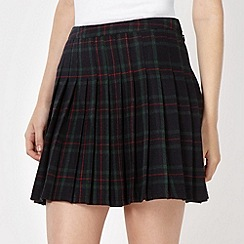 H! by Henry Holland - Designer dark green tartan pleat skirt